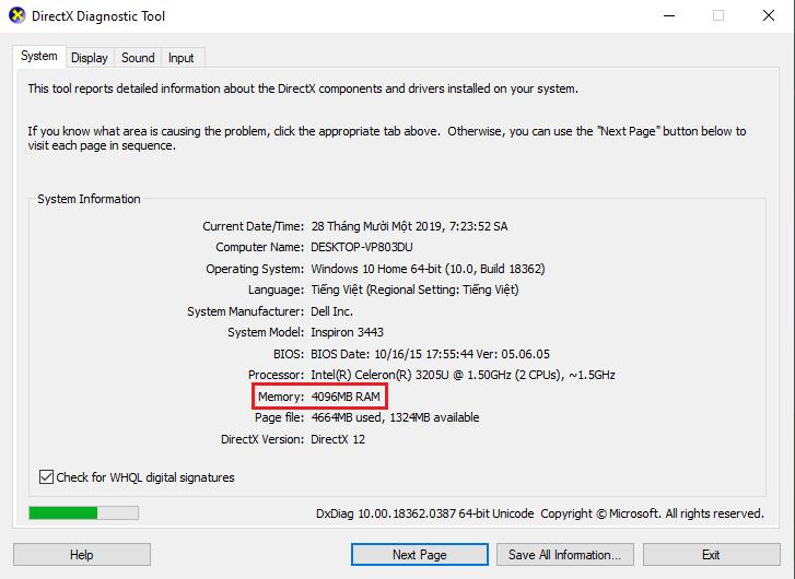 cách kiểm tra ram máy tính bằng tổ hợp phím Windows + R