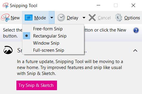 Chụp Màn Hình Windows 10 Bằng Snipping Tool