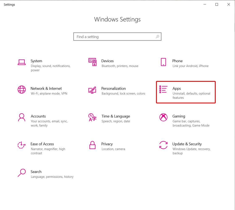 Hãy chọn Apps trong hộp thoại Windows Settings