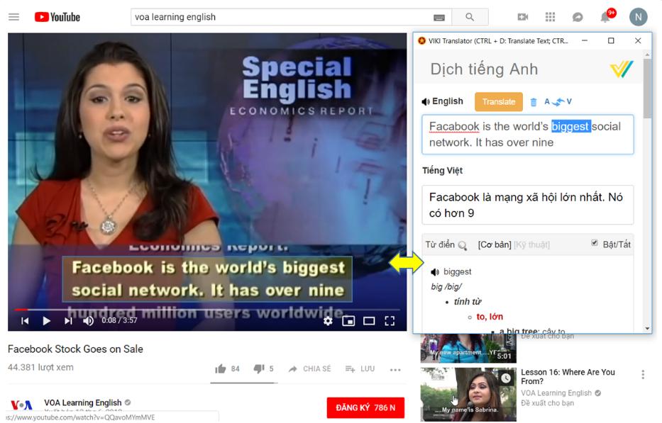 Phần mềm dịch tiếng anh chuẩn VIKI Translator trên video