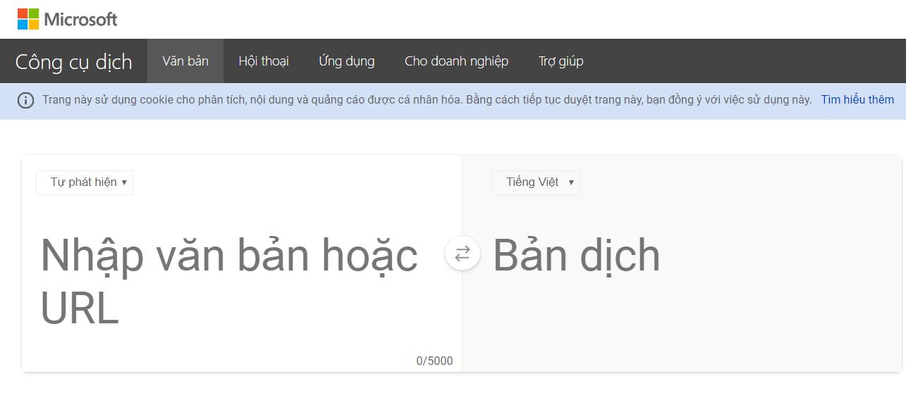 phần mềm dịch văn bản tiếng anh Microsoft