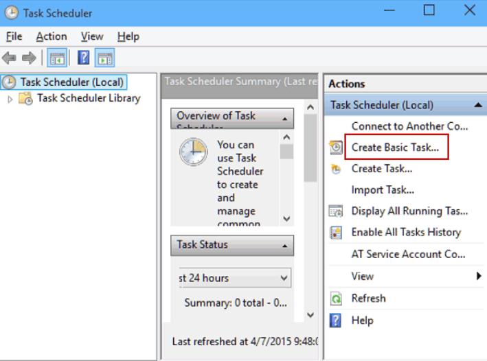 Sử dụng Task Scheduler để lên lịch tắt máy